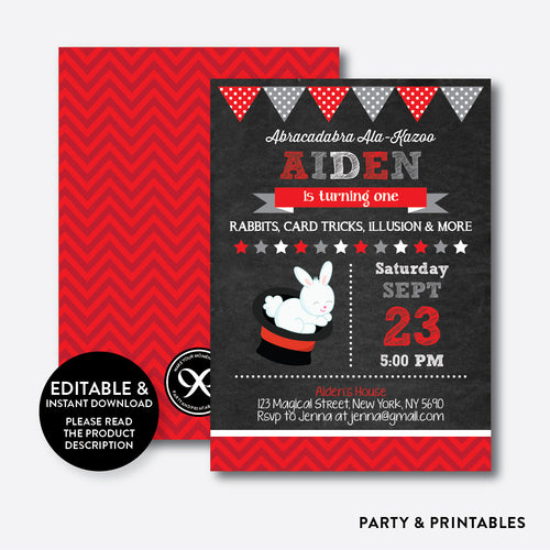 Magic Chalkboard Kids Birthday Invitation / Editable / Instant Download (CKB.161)