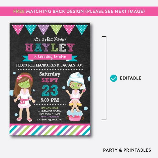 Spa Party Chalkboard Kids Birthday Invitation / Editable / Instant Download (CKB.164), invitation - Party and Printables
