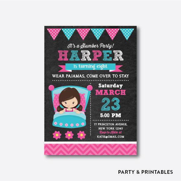 Slumber Party Girl Chalkboard Kids Birthday Invitation / Personalized (CKB.165), invitation - Party and Printables