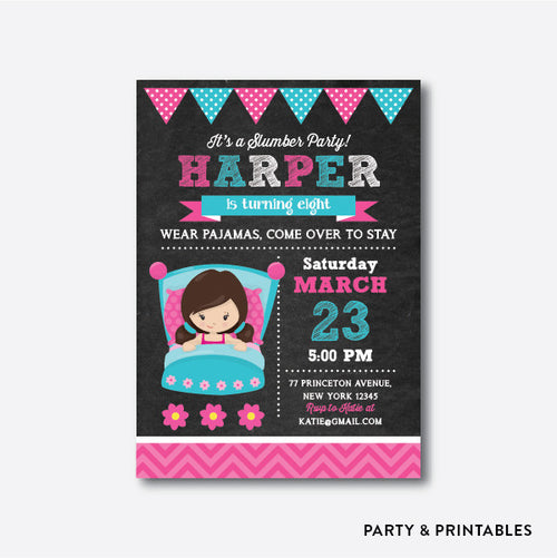 Slumber Party Girl Chalkboard Kids Birthday Invitation / Personalized (CKB.165)