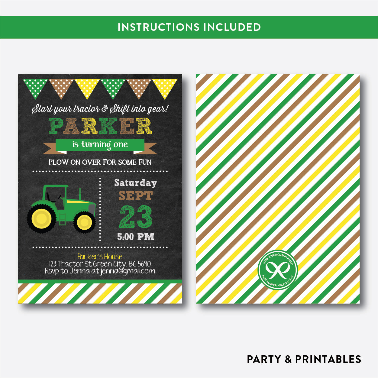 Green Tractor Chalkboard Kids Birthday Invitation / Editable / Instant Download (CKB.167B), invitation - Party and Printables