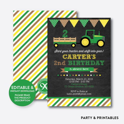 Green Tractor Chalkboard Kids Birthday Invitation / Editable / Instant Download (CKB.167)