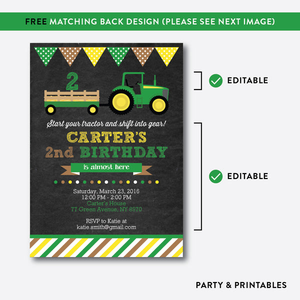 Green Tractor Chalkboard Kids Birthday Invitation / Editable / Instant Download (CKB.167), invitation - Party and Printables