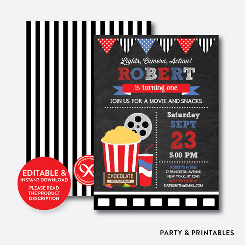 Movie Chalkboard Kids Birthday Invitation / Editable / Instant Download (CKB.169B)
