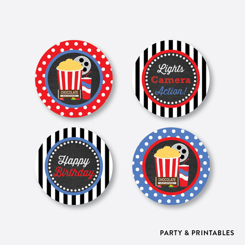 Movie Chalkboard Cupcake Toppers / Non-Personalized / Instant Download (CKB.169)