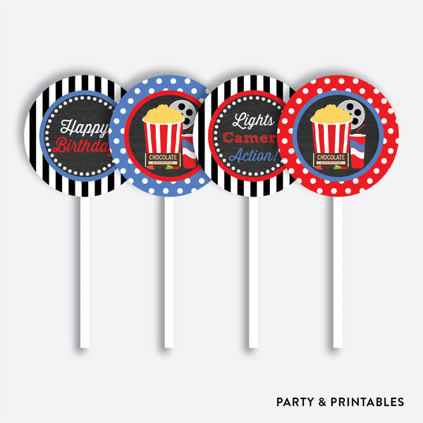 Movie Chalkboard Cupcake Toppers / Non-Personalized / Instant Download (CKB.169), party printables - Party and Printables