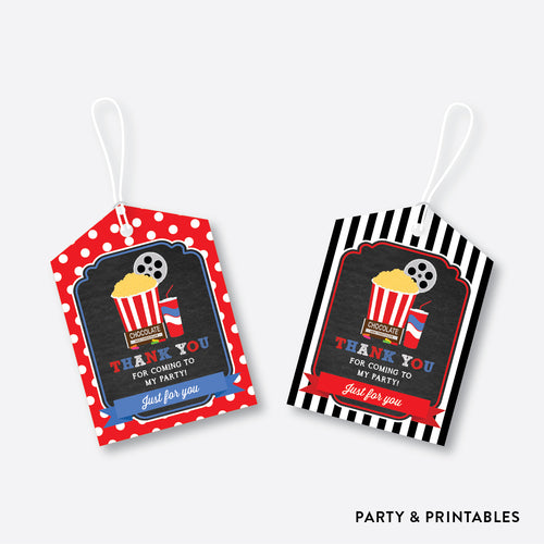 Movie Chalkboard Favor Tags / Non-Personalized / Instant Download (CKB.169)