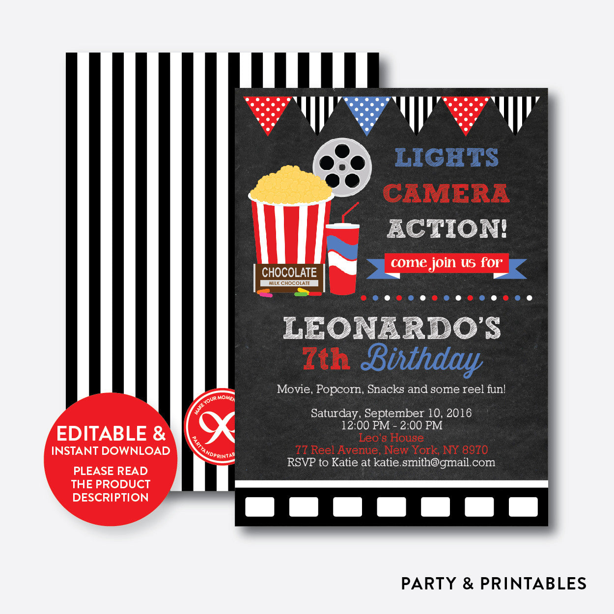 Movie Chalkboard Kids Birthday Invitation / Editable / Instant Download (CKB.169), invitation - Party and Printables