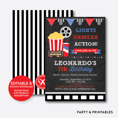 Movie Chalkboard Kids Birthday Invitation / Editable / Instant Download (CKB.169)