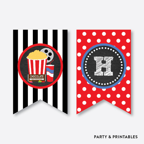 Movie Chalkboard Party Banner / Happy Birthday Banner / Non-Personalized / Instant Download (CKB.169)