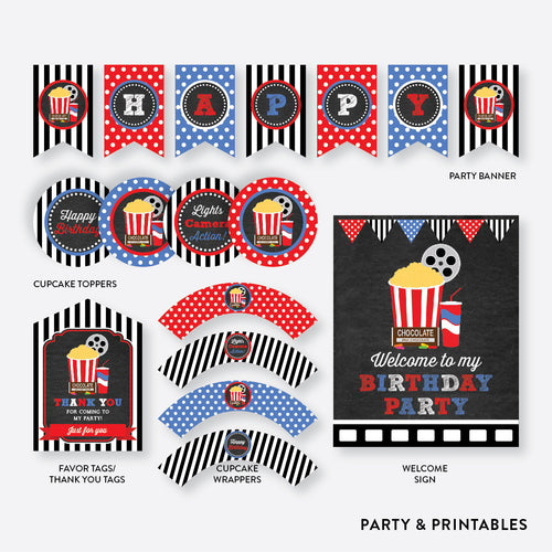 Movie Chalkboard Standard Kids Birthday Party Package / Non-Personalized / Instant Download (CKB.169)
