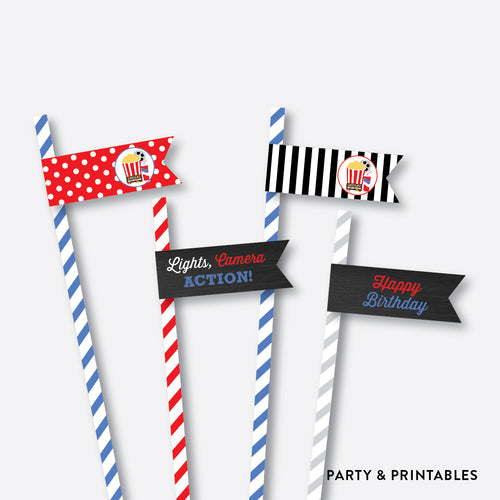 Movie Chalkboard Straw Flags / Non-Personalized / Instant Download (CKB.169)