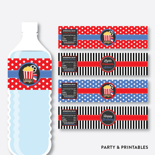 Movie Chalkboard Water Bottle Labels / Non-Personalized / Instant Download (CKB.169)