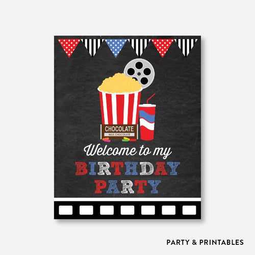 Movie Chalkboard Welcome Sign / Non-Personalized / Instant Download (CKB.169)