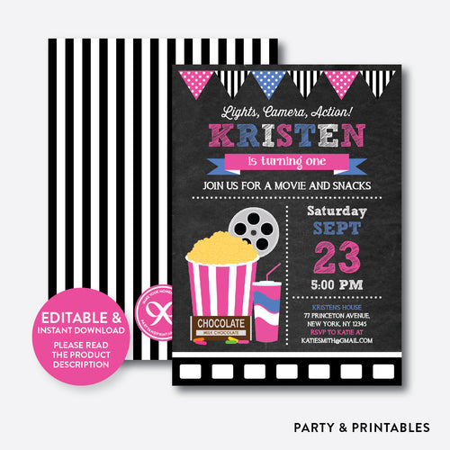 Movie Chalkboard Kids Birthday Invitation / Editable / Instant Download (CKB.170B)