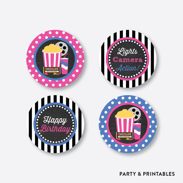 Movie Chalkboard Cupcake Toppers / Non-Personalized / Instant Download (CKB.170), party printables - Party and Printables