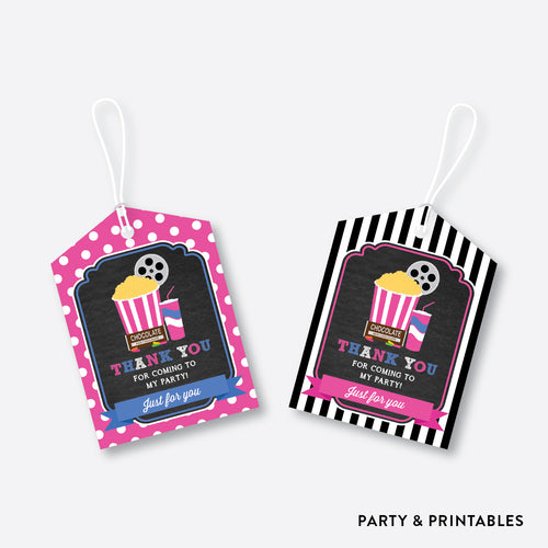 Movie Night Chalkboard Favor Tags / Non-Personalized / Instant Download (CKB.170)