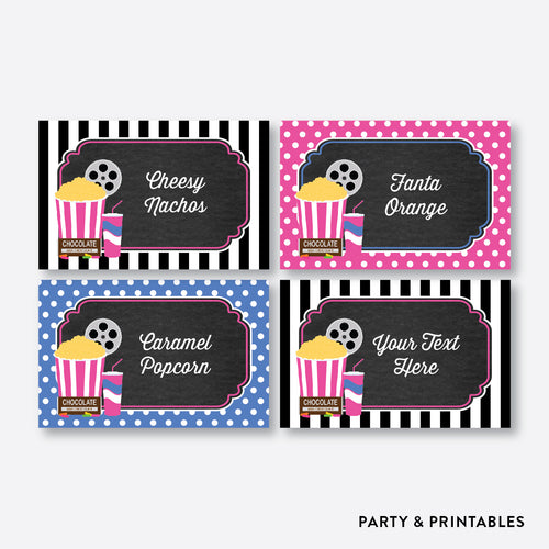 Movie Chalkboard Food Labels / Editable / Instant Download (CKB.170)