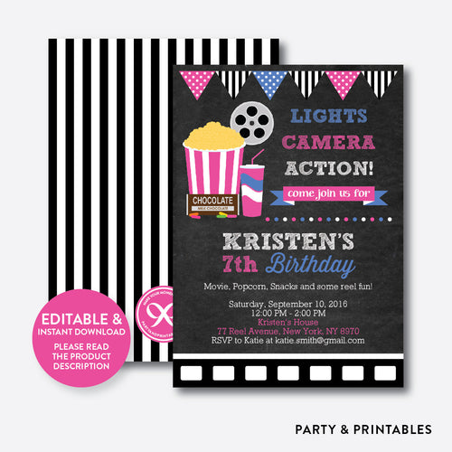 Movie Chalkboard Kids Birthday Invitation / Editable / Instant Download (CKB.170)