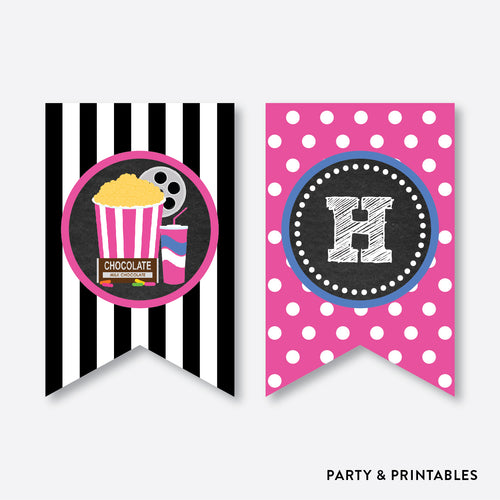 Movie Chalkboard Party Banner / Happy Birthday Banner / Non-Personalized / Instant Download (CKB.170)
