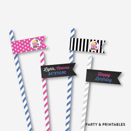 Movie Chalkboard Straw Flags / Non-Personalized / Instant Download (CKB.170)