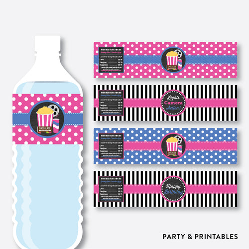 Movie Chalkboard Water Bottle Labels / Non-Personalized / Instant Download (CKB.170)