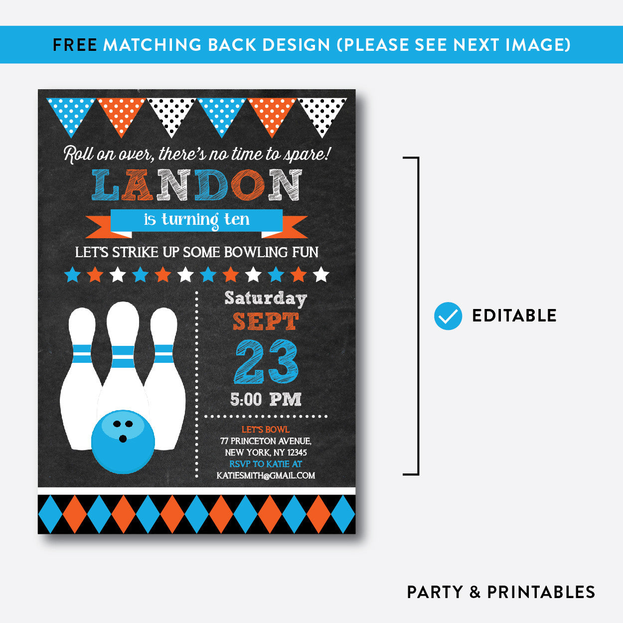 Bowling Chalkboard Kids Birthday Invitation / Editable / Instant Download (CKB.177B), invitation - Party and Printables
