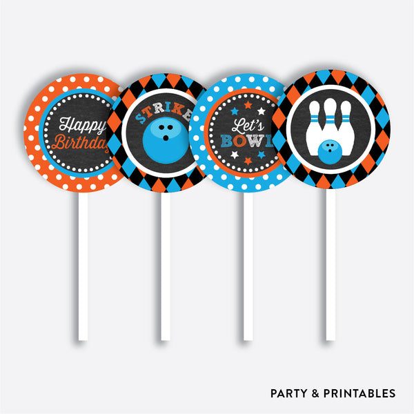 Bowling Chalkboard Cupcake Toppers / Non-Personalized / Instant Download (CKB.177), party printables - Party and Printables
