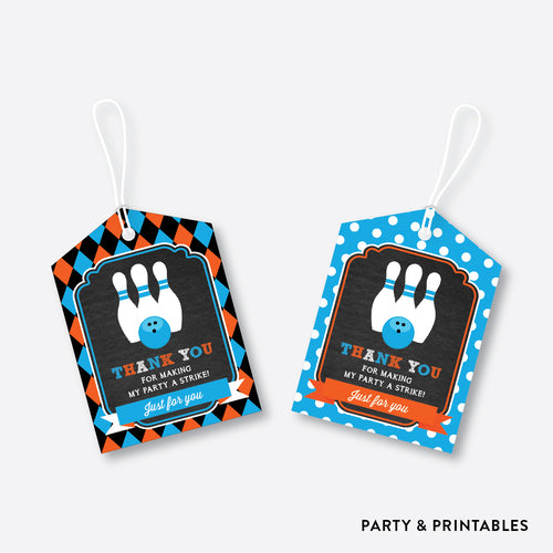 Bowling Chalkboard Favor Tags / Non-Personalized / Instant Download (CKB.177)