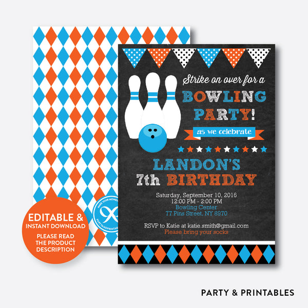 Bowling Chalkboard Kids Birthday Invitation / Editable / Instant Download (CKB.177), invitation - Party and Printables