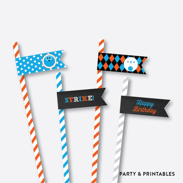 Bowling Chalkboard Straw Flags / Non-Personalized / Instant Download (CKB.177), party printables - Party and Printables