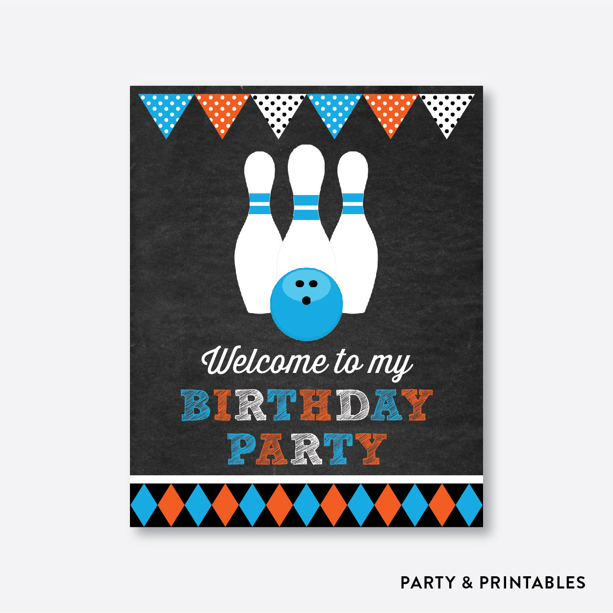 Bowling Chalkboard Welcome Sign / Non-Personalized / Instant Download (CKB.177), party printables - Party and Printables