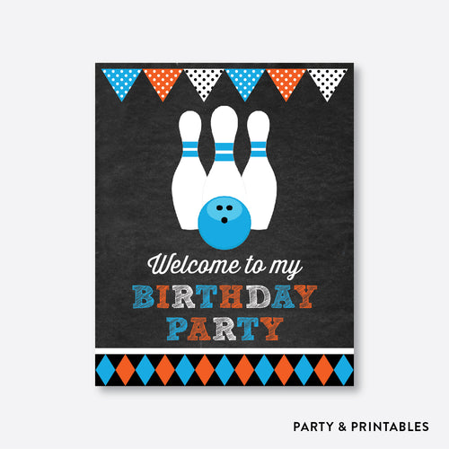 Bowling Chalkboard Welcome Sign / Non-Personalized / Instant Download (CKB.177)