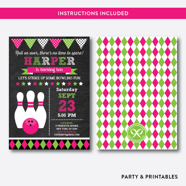 Bowling Chalkboard Kids Birthday Invitation / Editable / Instant Download (CKB.178B), invitation - Party and Printables