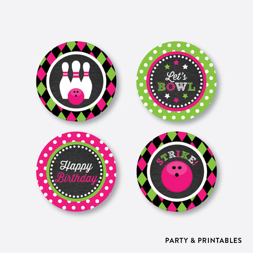 Bowling Chalkboard Cupcake Toppers / Non-Personalized / Instant Download (CKB.178)