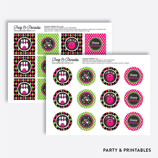 Bowling Chalkboard Cupcake Toppers / Non-Personalized / Instant Download (CKB.178), party printables - Party and Printables