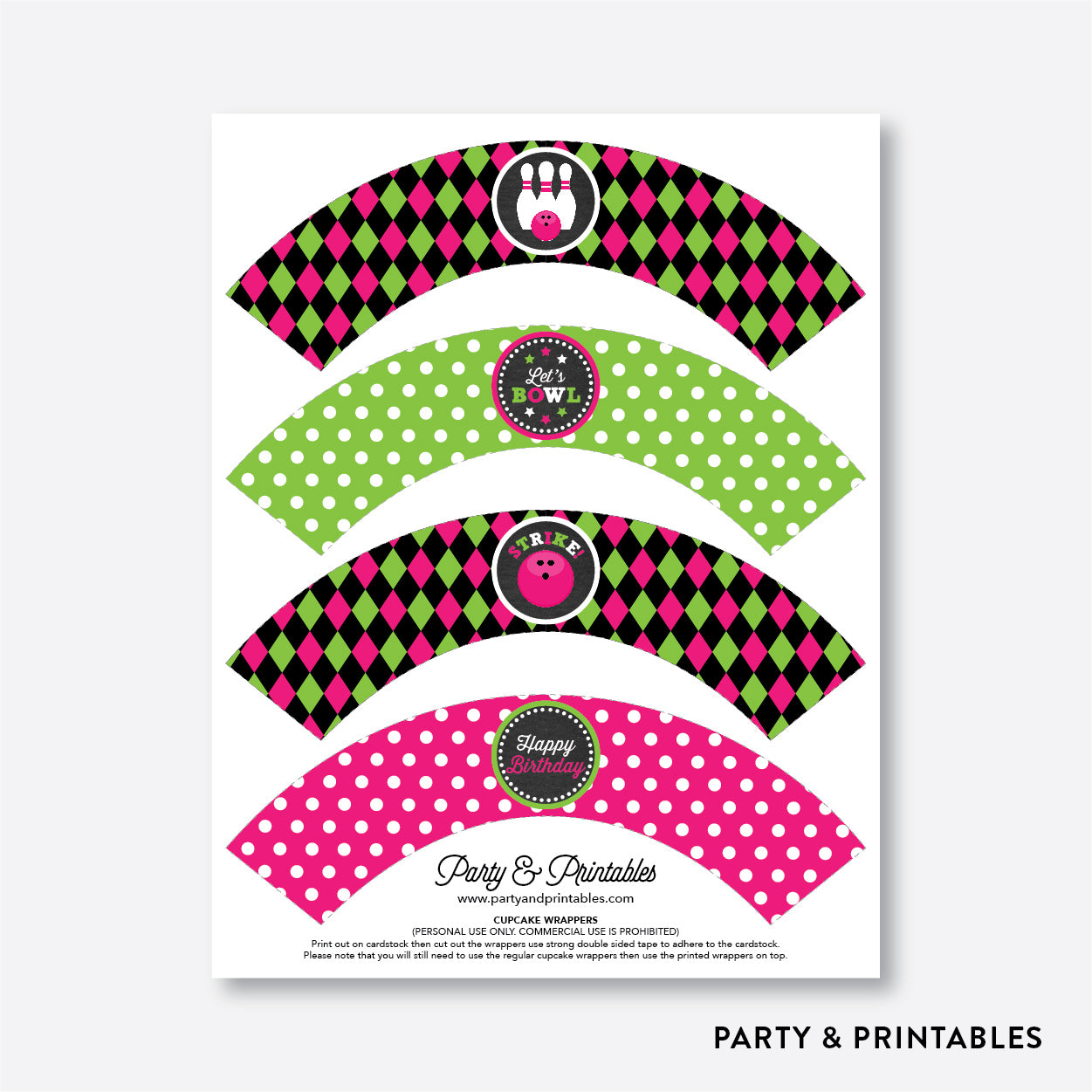 Bowling Chalkboard Cupcake Wrappers / Non-Personalized / Instant Download (CKB.178), party printables - Party and Printables