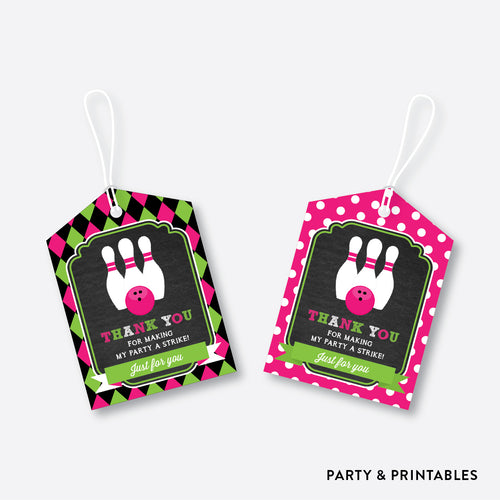 Bowling Chalkboard Favor Tags / Non-Personalized / Instant Download (CKB.178)