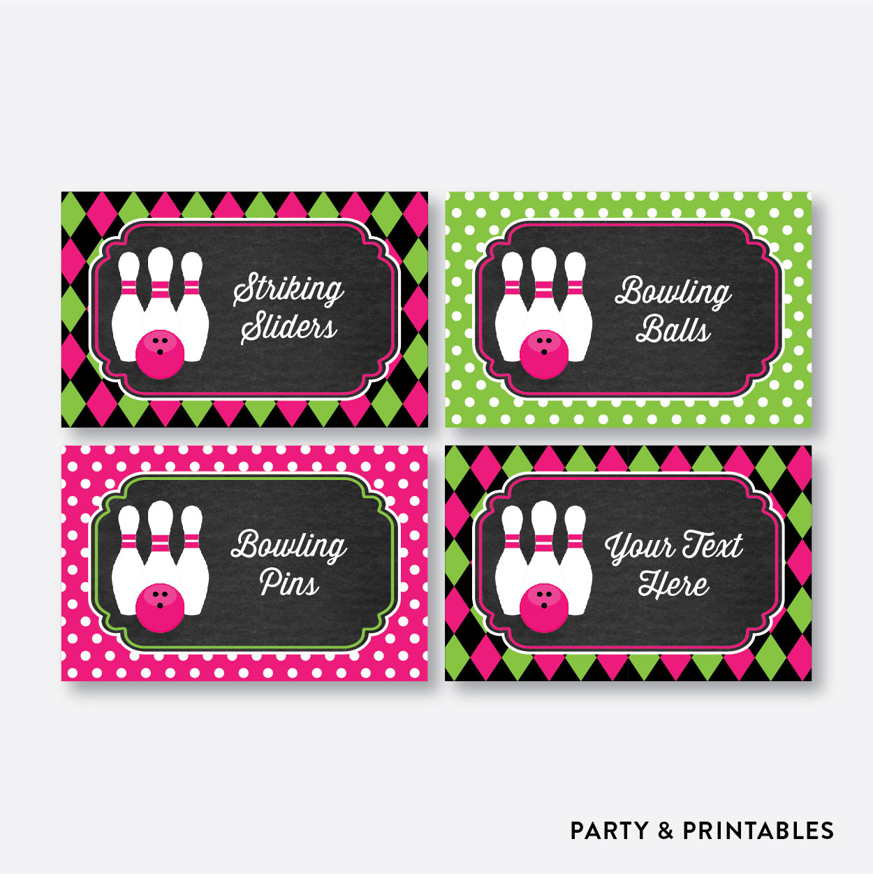 Bowling Chalkboard Food Labels / Editable / Instant Download (CKB.178), party printables - Party and Printables