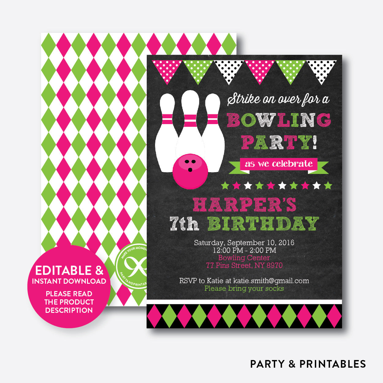 Bowling Chalkboard Kids Birthday Invitation / Editable / Instant Download (CKB.178), invitation - Party and Printables