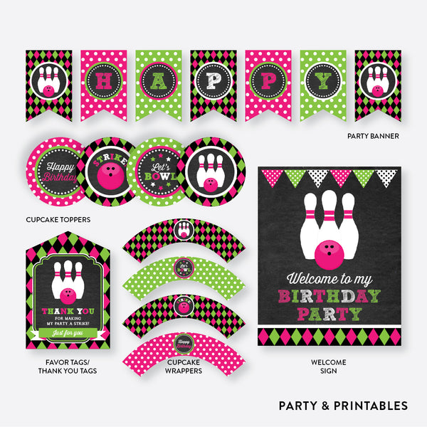 Bowling Chalkboard Standard Kids Birthday Party Package / Non-Personalized / Instant Download (CKB.178), party package - Party and Printables