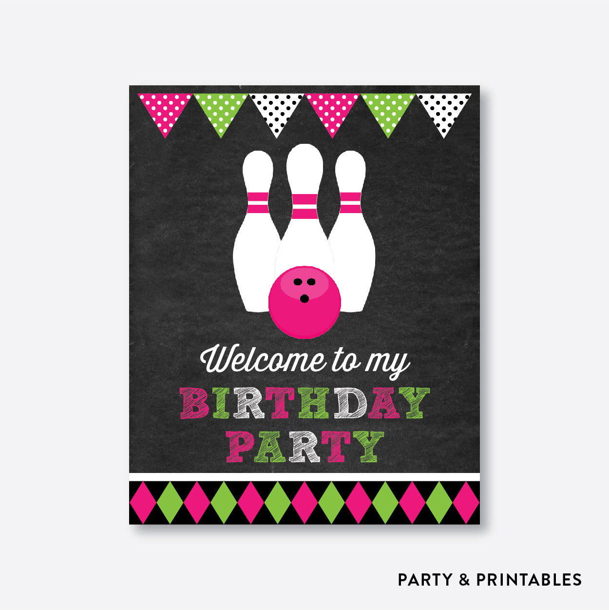 Bowling Chalkboard Welcome Sign / Non-Personalized / Instant Download (CKB.178), party printables - Party and Printables