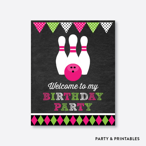 Bowling Chalkboard Welcome Sign / Non-Personalized / Instant Download (CKB.178)