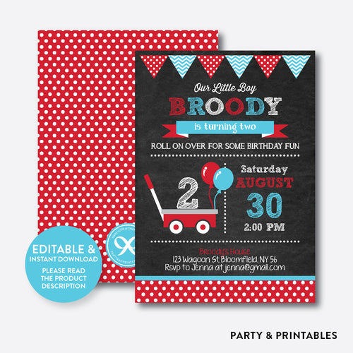 Red Wagon Chalkboard Kids Birthday Invitation / Editable / Instant Download (CKB.184)
