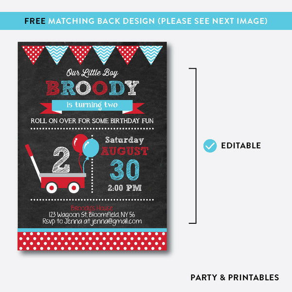 Red Wagon Chalkboard Kids Birthday Invitation / Editable / Instant Download (CKB.184), invitation - Party and Printables