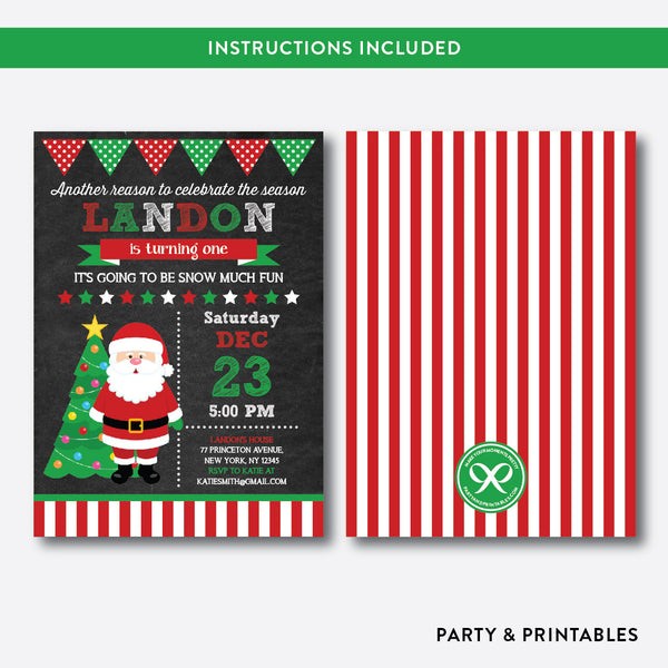Christmas Santa Chalkboard Kids Birthday Invitation / Editable / Instant Download (CKB.185), invitation - Party and Printables