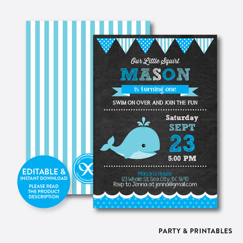 Whale Chalkboard Kids Birthday Invitation / Editable / Instant Download (CKB.188)
