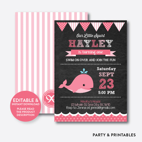 Whale Chalkboard Kids Birthday Invitation / Editable / Instant Download (CKB.189)