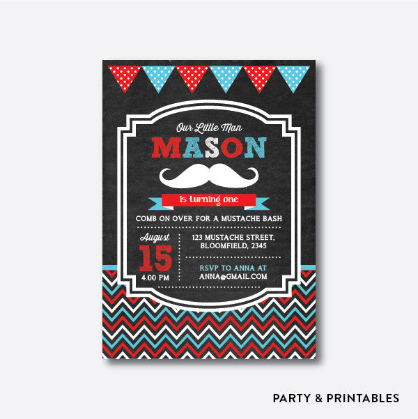 Mustache Chalkboard Kids Birthday Invitation / Personalized (CKB.18), invitation - Party and Printables