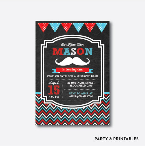 Mustache Chalkboard Kids Birthday Invitation / Personalized (CKB.18)